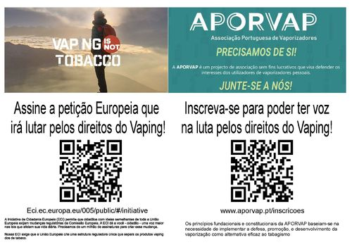 Pack 100un Flyers APORVAP + Petição Europeia (Vaping is not Tobacco)